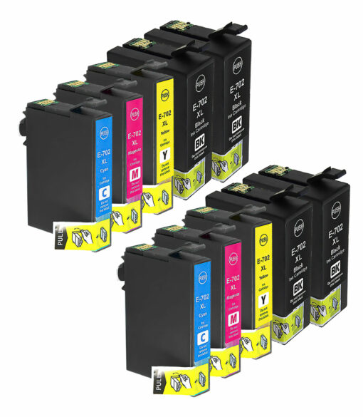 Remanufactured epson 702xl 10-set ink cartridges: 4 black and 2 each of cyan / magenta / yellow