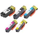 Remanufactured Epson 410XL 5-Set Ink Cartridges: 1 each of Black / Photo Black / Cyan / Magenta / Yellow