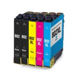Remanufactured Epson T802 5-Set Ink Cartridges: 2 Standard Black and 1 each of XL Cyan / Magenta / Yellow