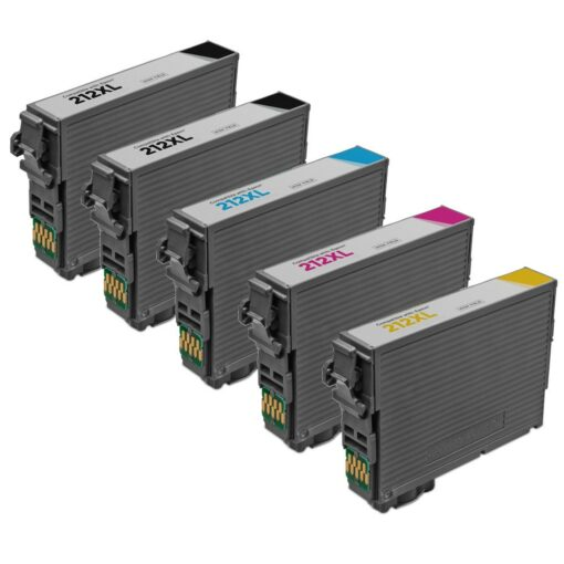 Remanufactured epson 212xl 5-set ink cartridges: 2 black and 1 each of cyan / magenta / yellow