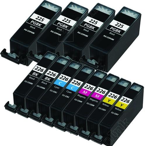 Compatible canon pgi225 & cli226 set of 12 ink cartridges: 4 pigment black pgi225, 2 each of cli226 b/c/m/y